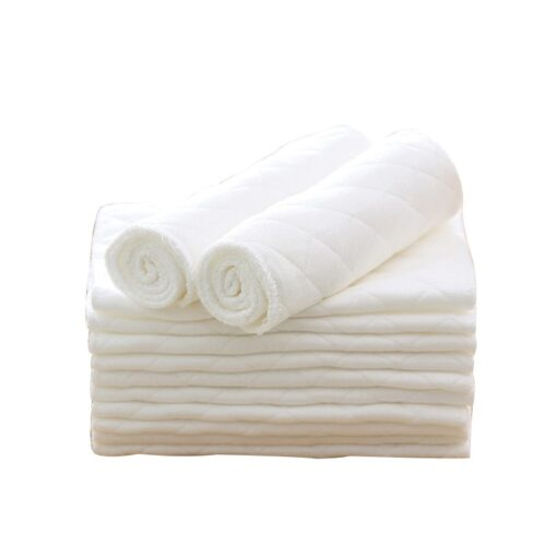 Super Absorbsent Pure Cotton Diaper paper 3 Layers Newborn Baby Nappies Washable White Non blooming 3