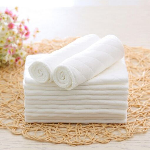 Super Absorbsent Pure Cotton Diaper paper 3 Layers Newborn Baby Nappies Washable White Non blooming