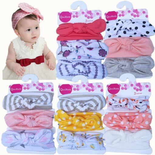 TELOTUNY 2019 NEW 3pcs lot Baby Headband Florals Hairwear For Newborn Baby Girls Elastic Bowknot Headband 1