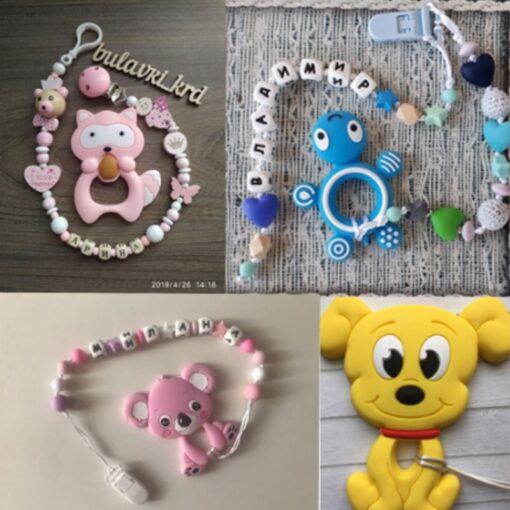 TYRY HU Silicone Teether Cartoon Animal BPA Free Rodents Teething Necklace Food Grade Infant Chewable Toys 4