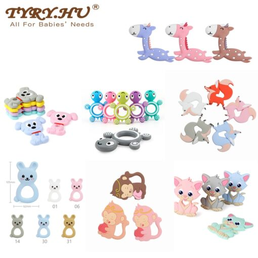 TYRY HU Silicone Teether Cartoon Animal BPA Free Rodents Teething Necklace Food Grade Infant Chewable Toys