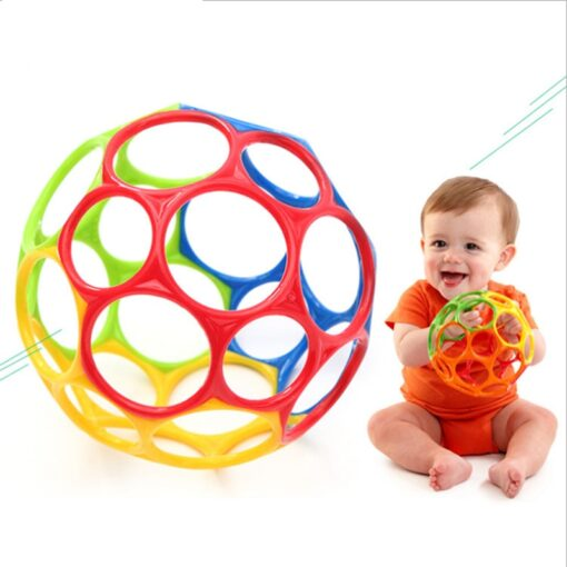 Teether toy soft colorful hollow ball hand bell intellectual development toy bite hand catch ball baby 1