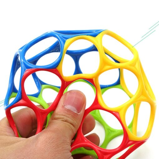 Teether toy soft colorful hollow ball hand bell intellectual development toy bite hand catch ball baby 3