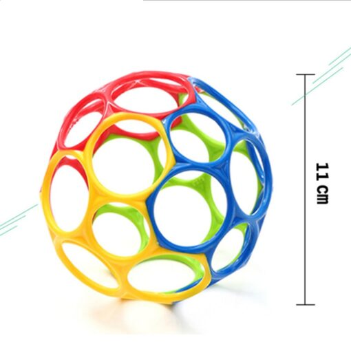Teether toy soft colorful hollow ball hand bell intellectual development toy bite hand catch ball baby 4