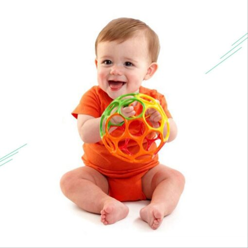 Teether toy soft colorful hollow ball hand bell intellectual development toy bite hand catch ball baby