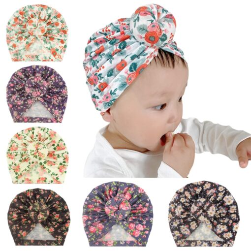 Toddler Kids Baby Girl Floral Print Knotted Hat Beanie Headwear Accessories Floral Print Knotted Cap Cotton 6