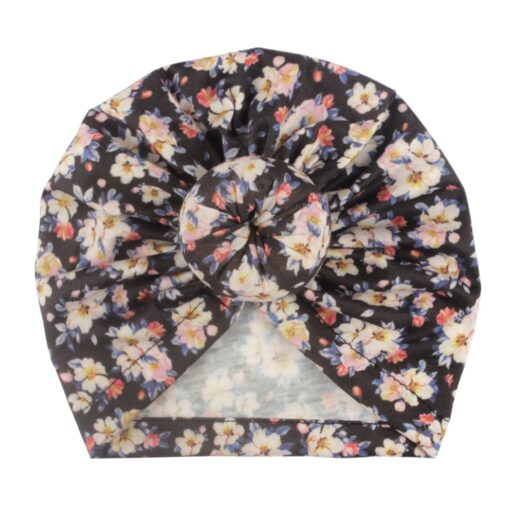 Toddler Kids Baby Girl Floral Print Knotted Hat Beanie Headwear Accessories Floral Print Knotted Cap Cotton 8