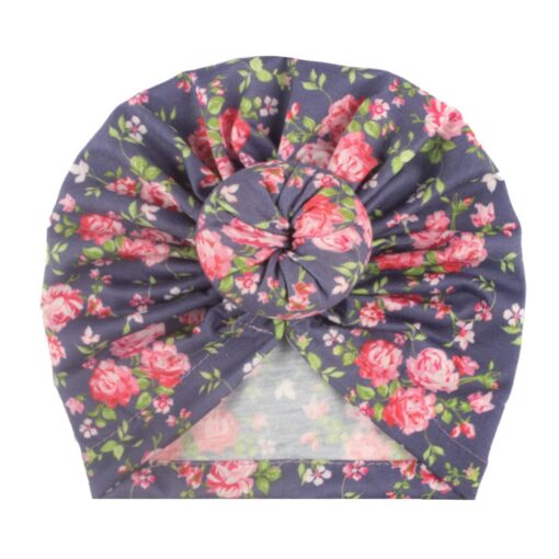 Toddler Kids Baby Girl Floral Print Knotted Hat Beanie Headwear Accessories Floral Print Knotted Cap Cotton 9