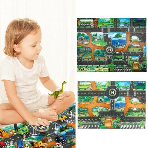 Traffic Road Carpet Playmat Rug For Cars Baby Crawling mat Climbing Pad City English City Parking 4