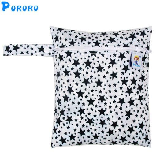 Travel PUL Wet Bags Baby Waterproof Cloth Diaper Bag Single Zipper Print Reusable Baby Nappy Wet 1