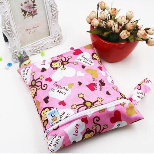 Travel PUL Wet Bags Baby Waterproof Cloth Diaper Bag Single Zipper Print Reusable Baby Nappy Wet 2