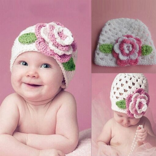 Turban Hat Baby Flower Knitted Cap Infant Girls Boys Winter Hats for Princess Party Toddler Knit 1
