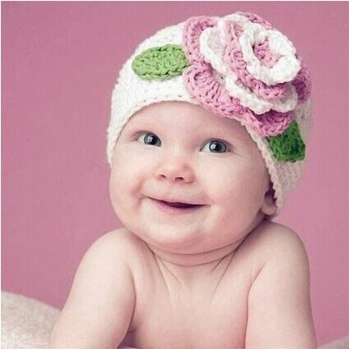 Turban Hat Baby Flower Knitted Cap Infant Girls Boys Winter Hats for Princess Party Toddler Knit 2