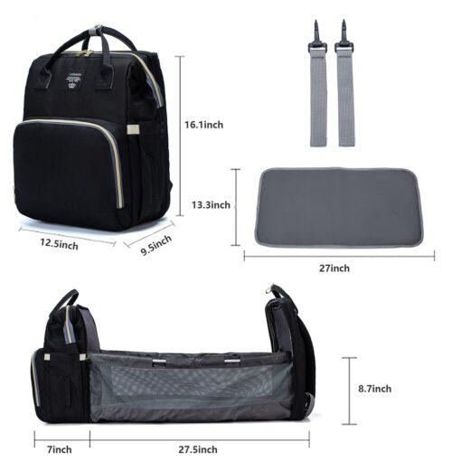 Umaubaby New Style Portable Folding Crib Diaper Bag Multi Function Large Capacity Mother s Bag Backpack 2