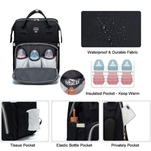 Umaubaby New Style Portable Folding Crib Diaper Bag Multi Function Large Capacity Mother s Bag Backpack 3