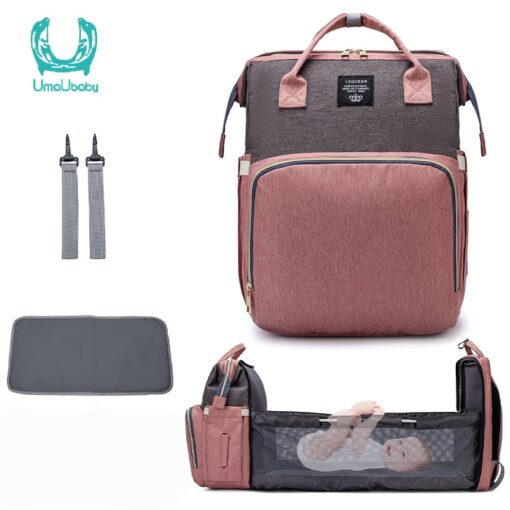 Umaubaby New Style Portable Folding Crib Diaper Bag Multi Function Large Capacity Mother s Bag Backpack