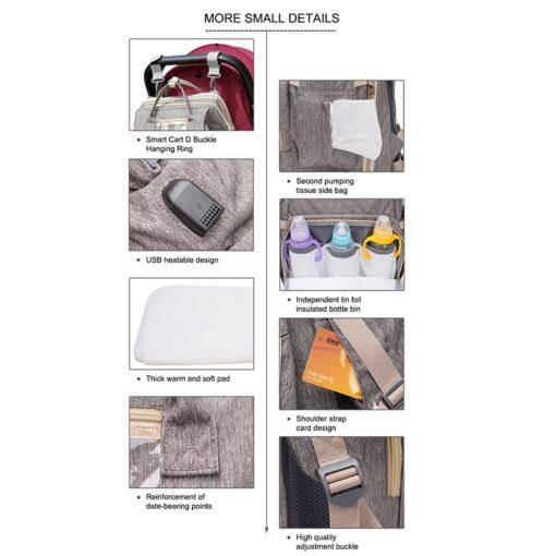 Umaubaby Pre design baby Diaper bags for mummy USB Baby Care Backpack Multifunction waterproof maternity bag 4