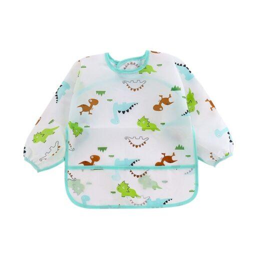 Unisex Infant Toddler Baby Smock Feeding Accessories Waterproof Cartoon Long Sleeved Bib Burp Cloths Kids 1