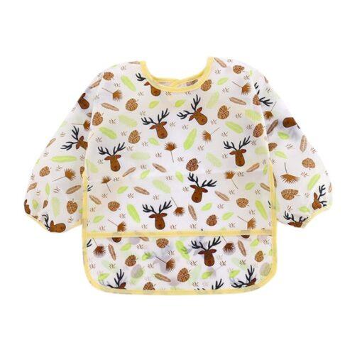 Unisex Infant Toddler Baby Smock Feeding Accessories Waterproof Cartoon Long Sleeved Bib Burp Cloths Kids 2