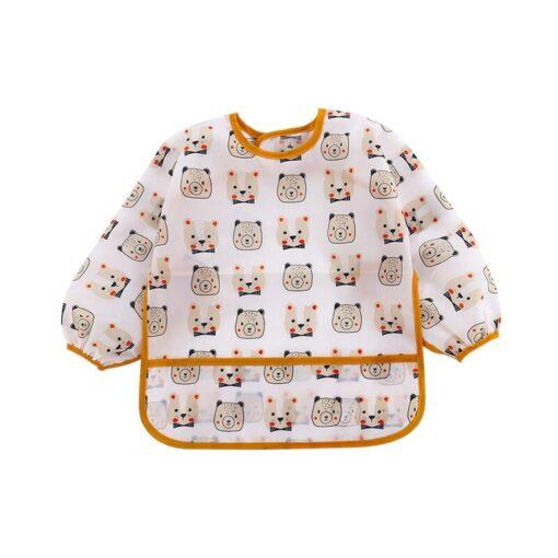 Unisex Infant Toddler Baby Smock Feeding Accessories Waterproof Cartoon Long Sleeved Bib Burp Cloths Kids 3