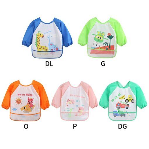 Unisex Infant Toddler Baby Waterproof Long Sleeved Bib Burp Cloths Kids Cartoon Smock Feeding Accessories Baby 5