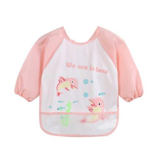 Unisex Infant Toddler Baby Waterproof Long Sleeved Bib Burp Cloths Kids Cartoon Smock Feeding Accessories Baby