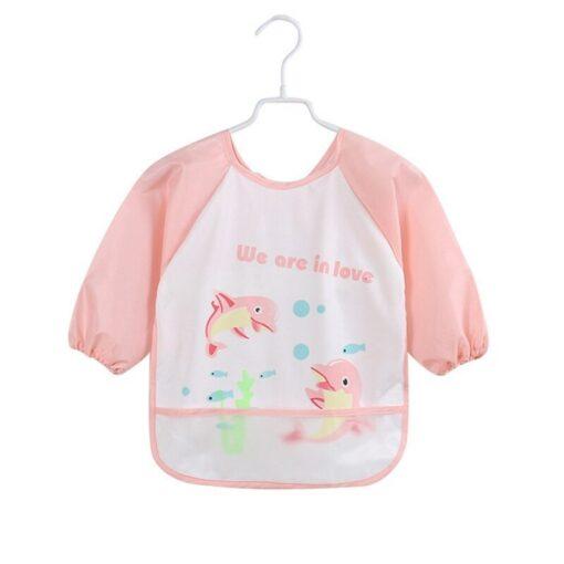Unisex Infant Toddler Baby Waterproof Long Sleeved Bib Burp Cloths Kids Cartoon Smock Feeding Accessories Waterproof 1