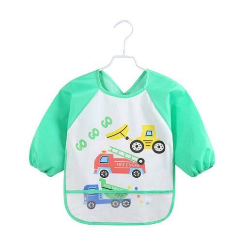 Unisex Infant Toddler Baby Waterproof Long Sleeved Bib Burp Cloths Kids Cartoon Smock Feeding Accessories Waterproof 2