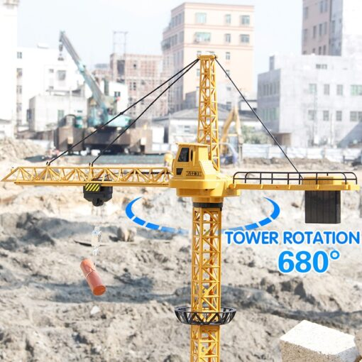 Upgraded Version Remote Control Construction Crane 6CH 128CM 680 Rotation Lift Model 2 4G RC Tower 4