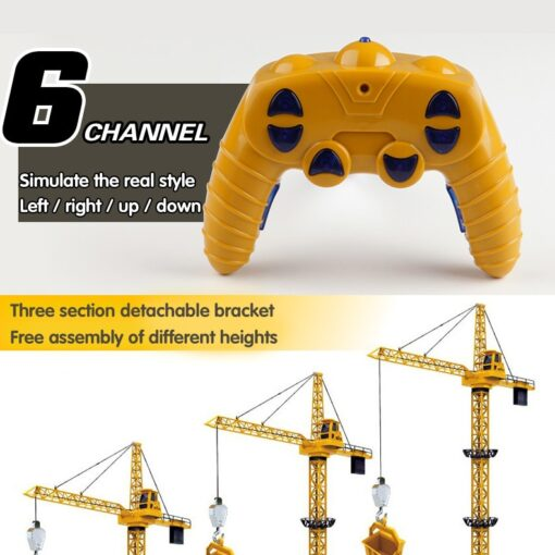 Upgraded Version Remote Control Construction Crane 6CH 128CM 680 Rotation Lift Model 2 4G RC Tower 5