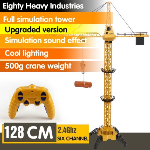 Upgraded Version Remote Control Construction Crane 6CH 128CM 680 Rotation Lift Model 2 4G RC Tower