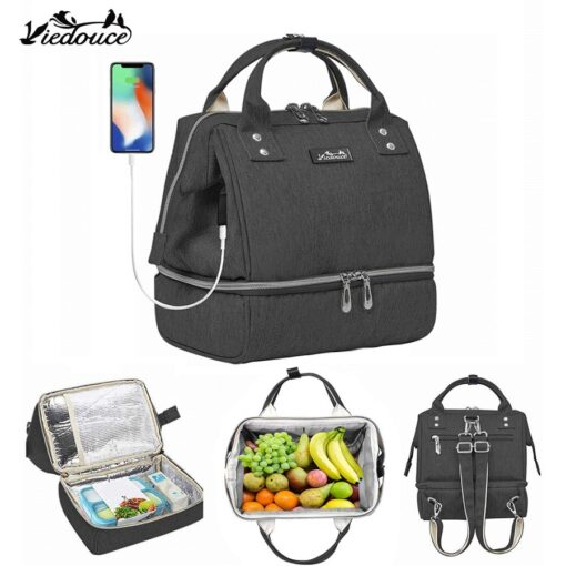 Viedouce USB thermal kid men s insulated office school bag and lunch bag picnic diaper cooler