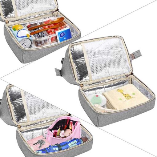 Viedouce thermal insulated school lunch bag travel usb diaper kid men women office lunch cooler box 4