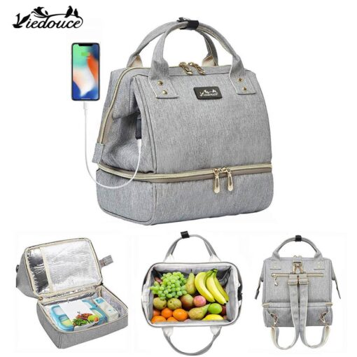 Viedouce thermal insulated school lunch bag travel usb diaper kid men women office lunch cooler