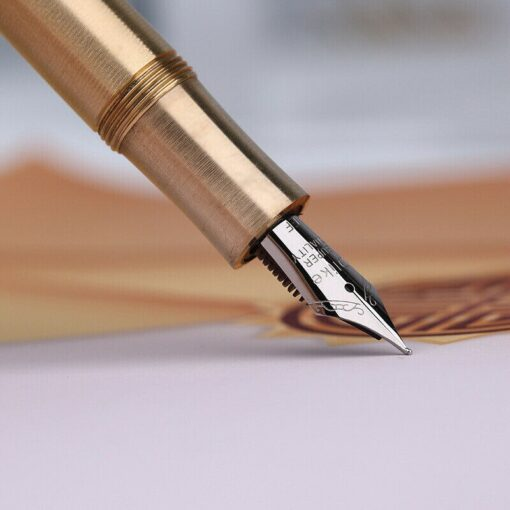 Vintage Moonman Delike Element Full Brass Fountain Pen Metal Ink Pen Writing Nib 0 5mm Ink 4