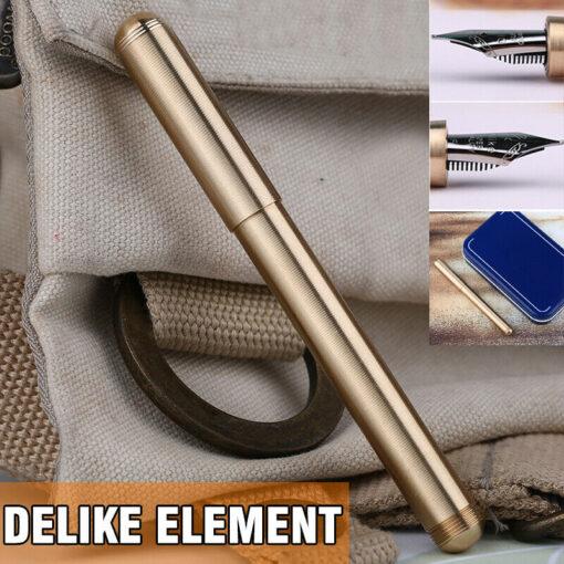 Vintage Moonman Delike Element Full Brass Fountain Pen Metal Ink Pen Writing Nib 0 5mm Ink