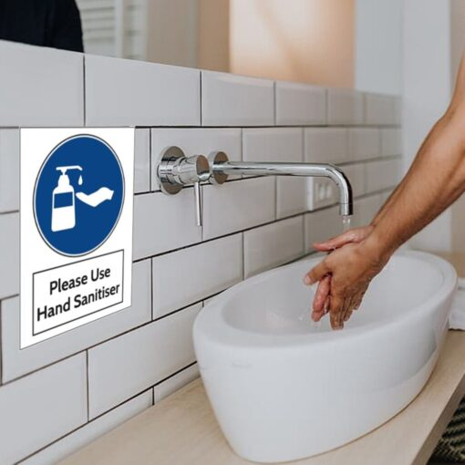 Warning wall stickers Use hand sanitiser Please Sign 200mm x 300mm Notice Sticker self adhesive Marker 1