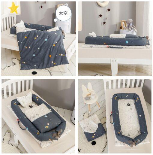 Washable Baby Babynest Cotton Baby Nest Bedding Set Portable Sleeping Bed Newborn Crib Foldable Nursery Bassinet 1
