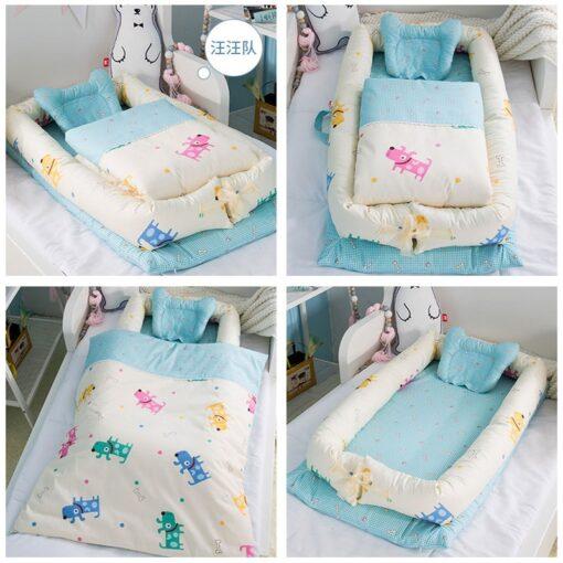 Washable Baby Babynest Cotton Baby Nest Bedding Set Portable Sleeping Bed Newborn Crib Foldable Nursery Bassinet 2