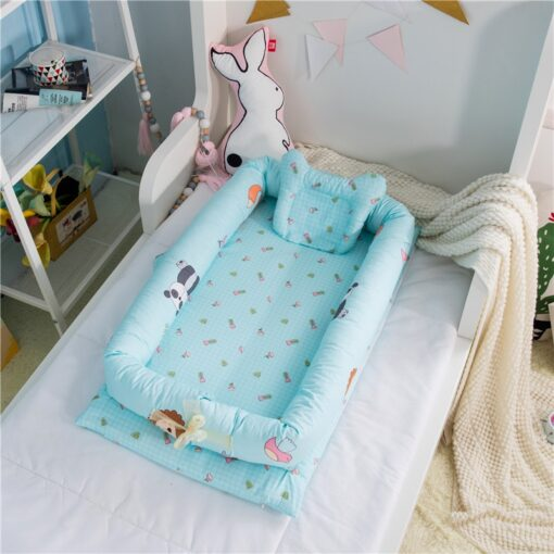 Washable Baby Babynest Cotton Baby Nest Bedding Set Portable Sleeping Bed Newborn Crib Foldable Nursery Bassinet 3