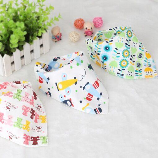 Washable Bib Cotton Soft Convenient Baby Saliva Bibs Triangular Towel Funny Design Cute Cartoon Design Non 1