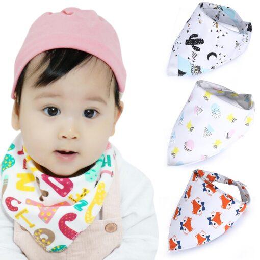Washable Bib Cotton Soft Convenient Baby Saliva Bibs Triangular Towel Funny Design Cute Cartoon Design Non