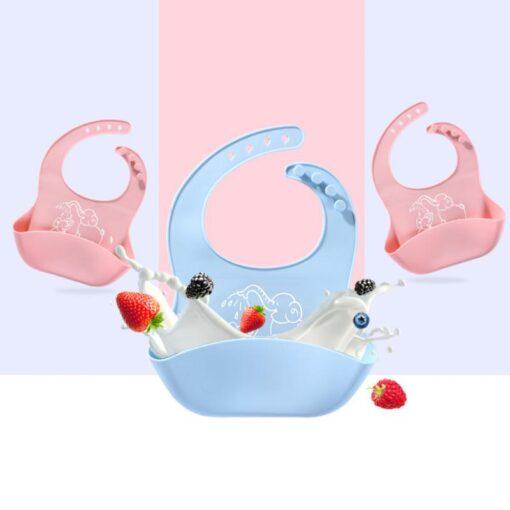Waterproof Baby Soft Silicone Bibs Leakproof Feeding Bib Kids Boy Girl Food Burp Cloths Safe Non 4