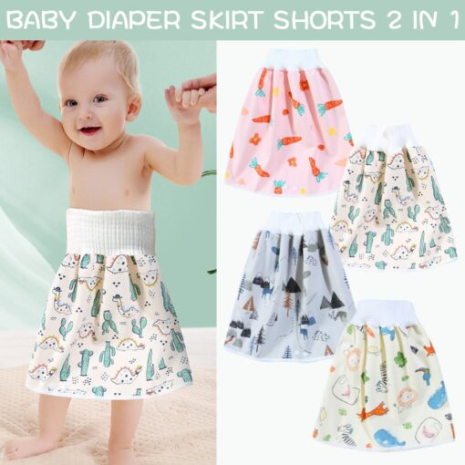 Waterproof Cloth Kids Cartoon Nappy Diaper Urine Skirts Cotton Training Pants For Infant Baby Boy Girl