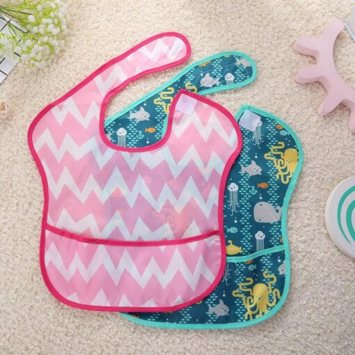Waterproof Newborn Baby Feeding Apron Infants Bibs Burp Cloth Toddler Meals Pocket Bibs Cartoon Kids Feeding 1