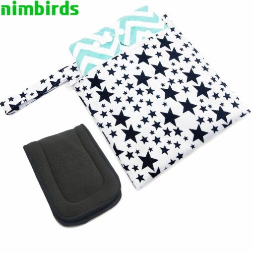 Waterproof Wet Bag Fashion Prints Wet Dry Diaper Bag Pocket Nappy Wetbags Reusable PUL Travel Wet