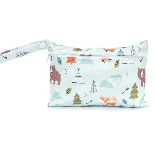 Waterproof reusable wet bag printed pocket diaper bag PUL travel dry wet bag mini diaper bag 3