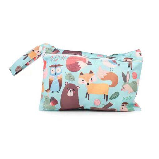 Waterproof reusable wet bag printed pocket diaper bag PUL travel dry wet bag mini diaper bag 4