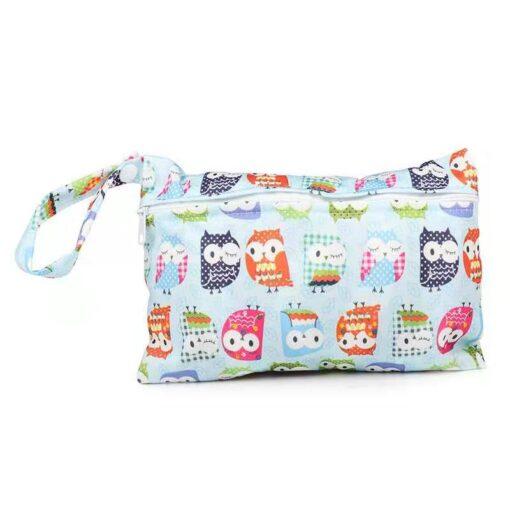 Waterproof reusable wet bag printed pocket diaper bag PUL travel dry wet bag mini diaper bag 5