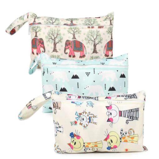 Waterproof reusable wet bag printed pocket diaper bag PUL travel dry wet bag mini diaper bag